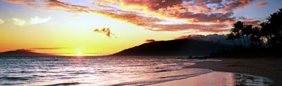sunset from Kamaole One #2 ocean front beach owner rental